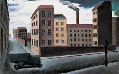 003-MARIO SIRONI, PAESAGGIO URBANO CON CAMION, 1920-21