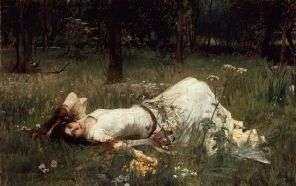 """J.W. Waterhouse, """"Ophelia"""" (1889)."""