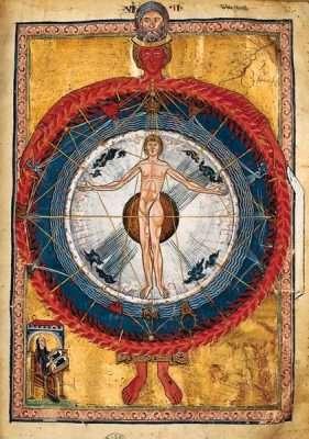 Miniatura dal Liber divinorum operum di Ildegarda di Bingen, XII secolo (Biblioteca statale di Lucca).