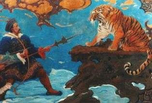 Dipinto di Charles R. Knight raffigurante una scena di caccia alla tigre.